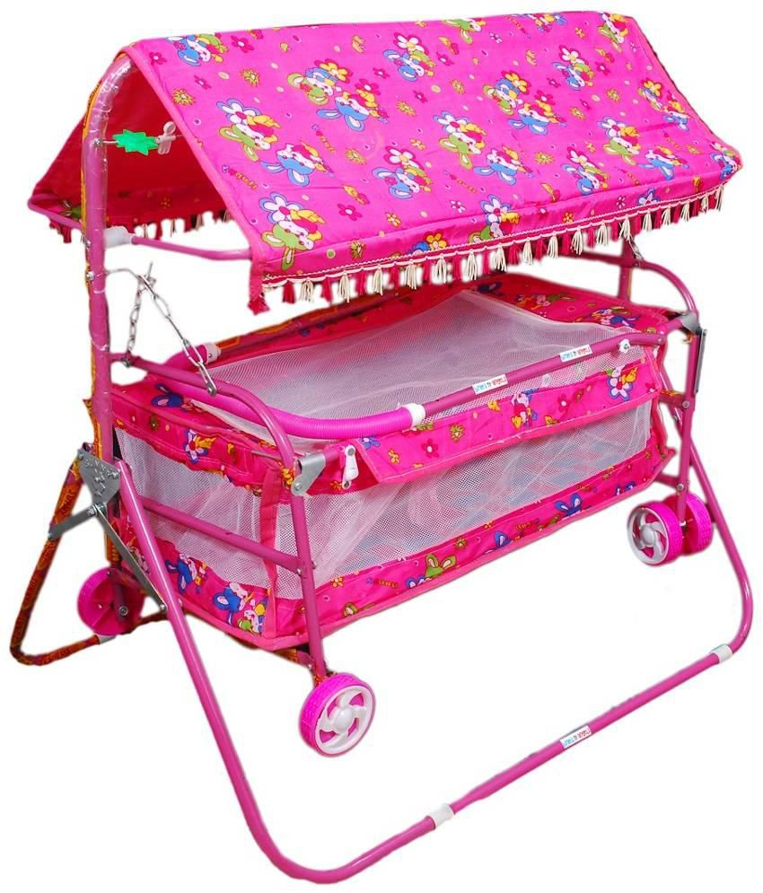 Brats N Angels Pink Baby Cradle Cum Cot Cum Stroller Buy