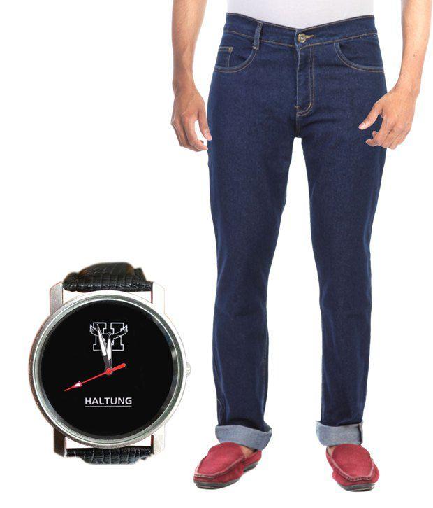 Haltung Streachable Blue Men Denim Jeans With Free Watch