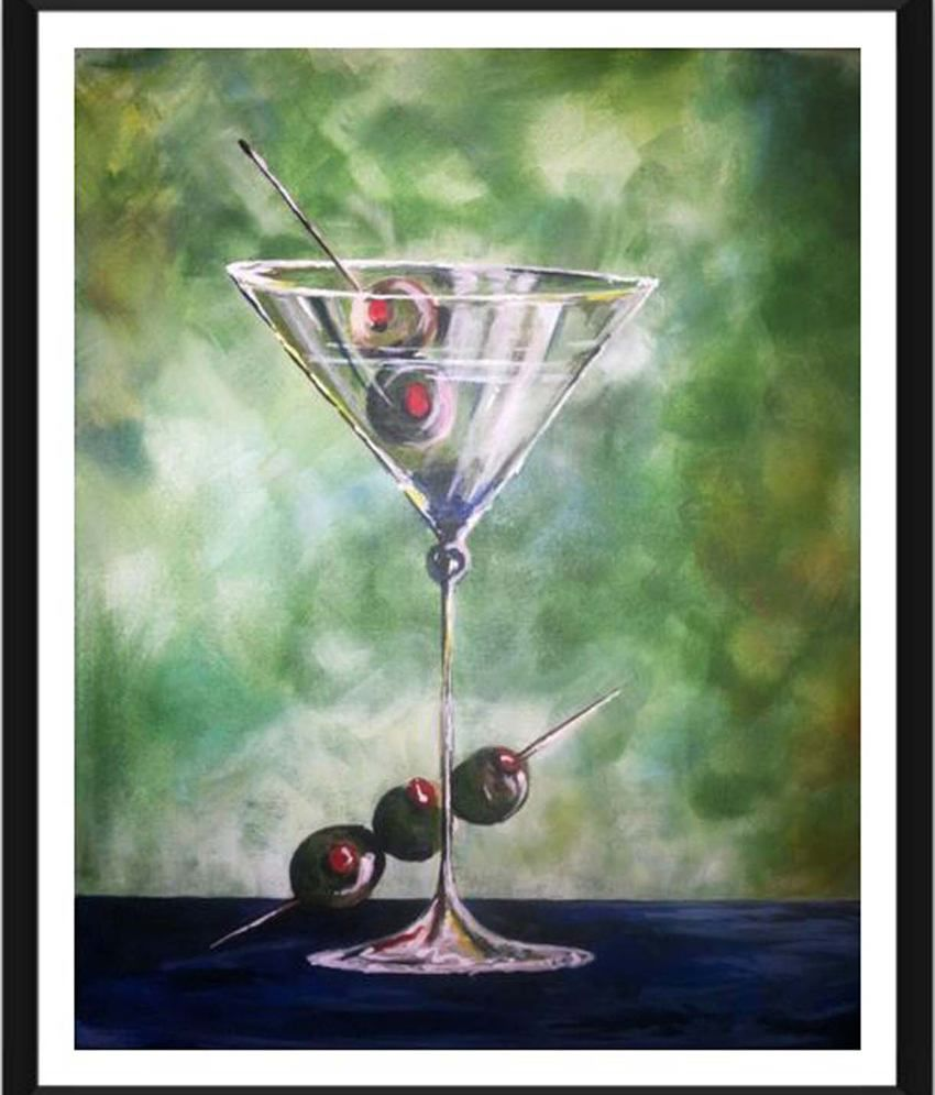 Tallenge Martini & Olives Painting With Acrylic Frame