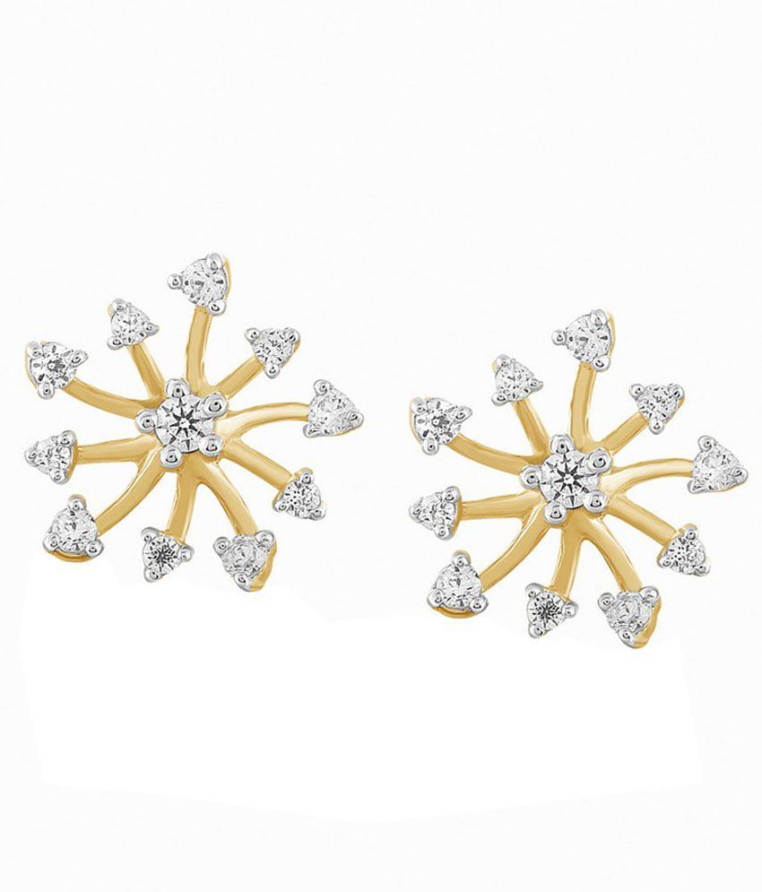 Atjewel 18kt Gold BIS Hallmarked Stud Earrings