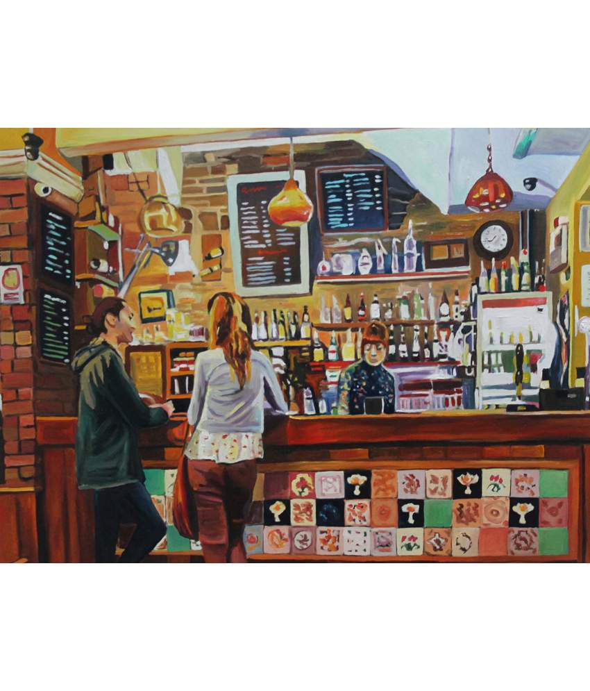Tallenge Girl Serving Drinks In The Bar Painting With Wood Frame