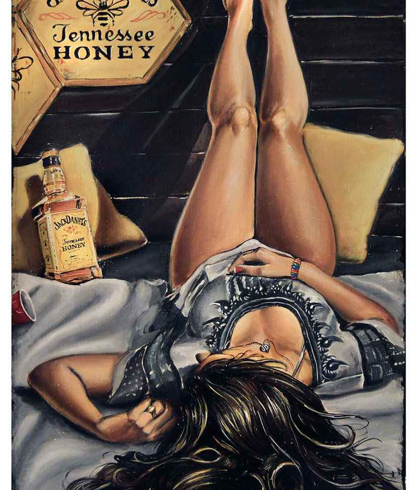Tallenge Jack Daniel's Lady Painting With Wood Frame