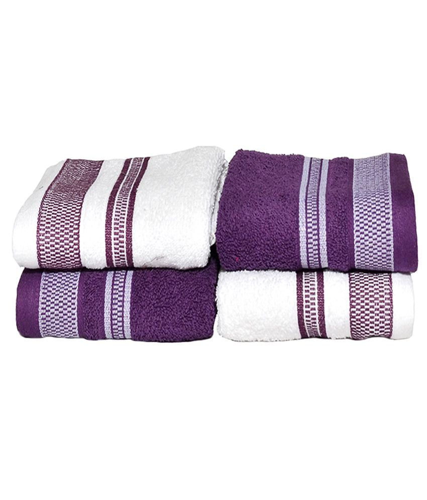 Vintana Purple and White Embroidered Cotton Hand Towel ...