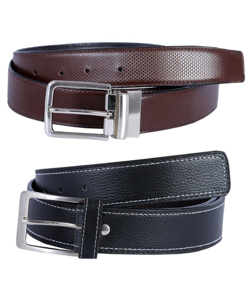 Kritika's World Black and Brown Leather Formal Belt- Pack of 2
