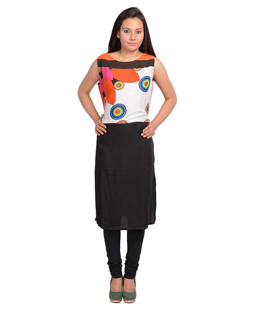 Sale Forward Black Straight Poly Rayon Kurti