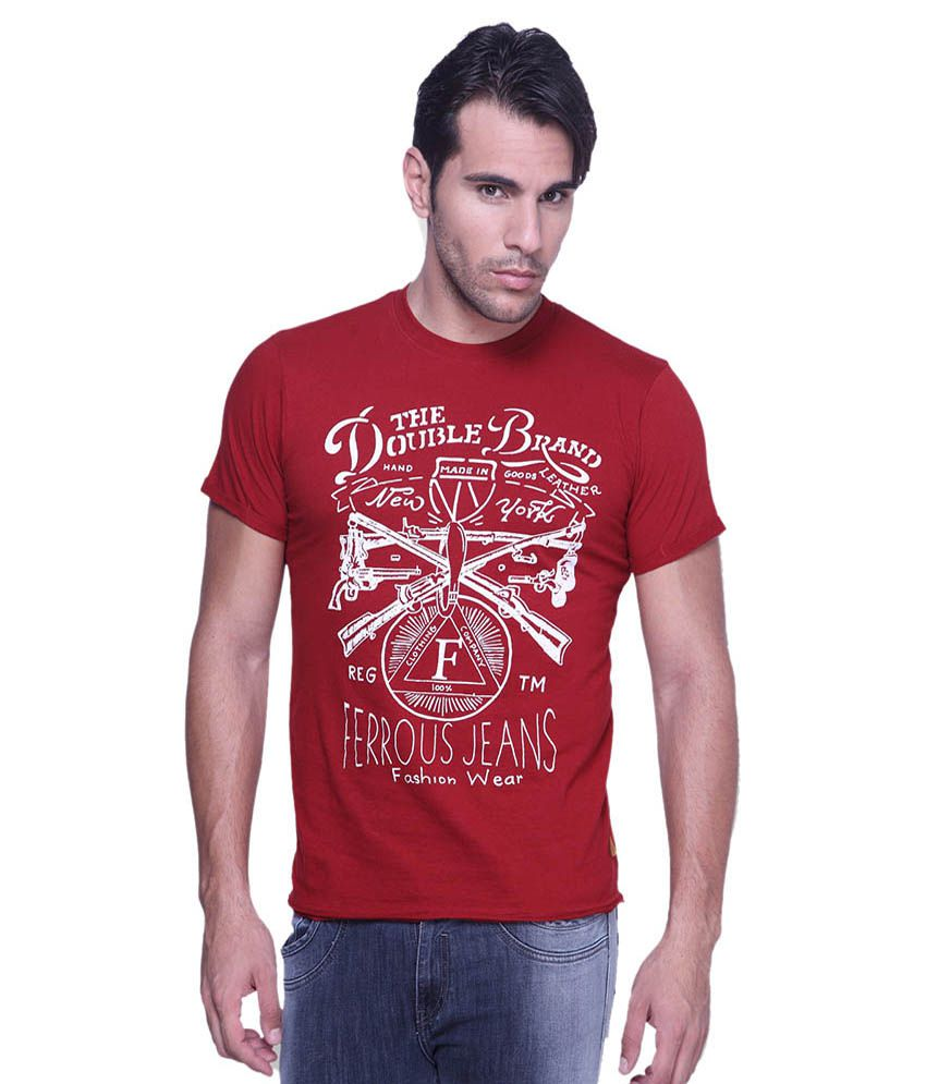 Ferrous Jeans Red Round T Shirts No