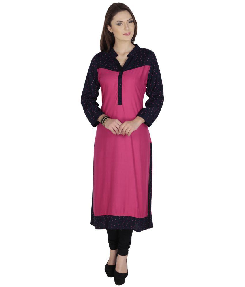 Azira Pink Straight Rayon Kurti