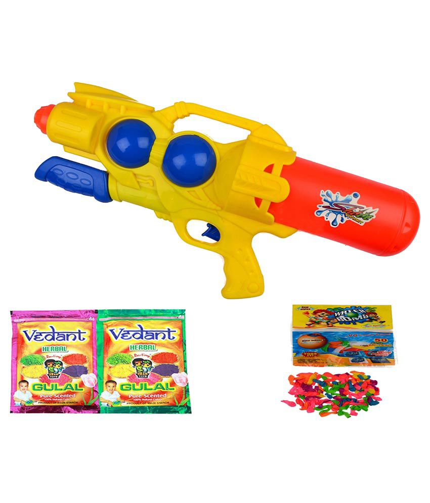 Darling Toys Water Gun With 2 Herbal Gulal And Water Balloon Of 100