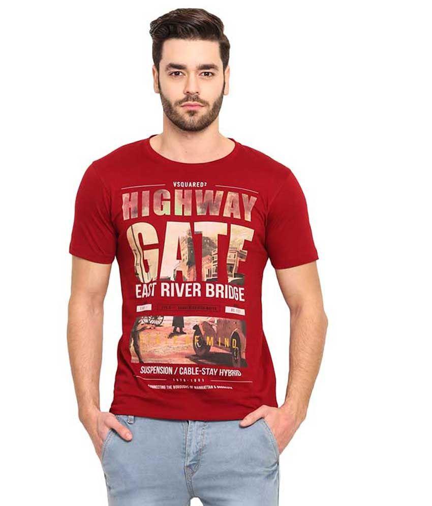 Mode Vetements Maroon Round T Shirts