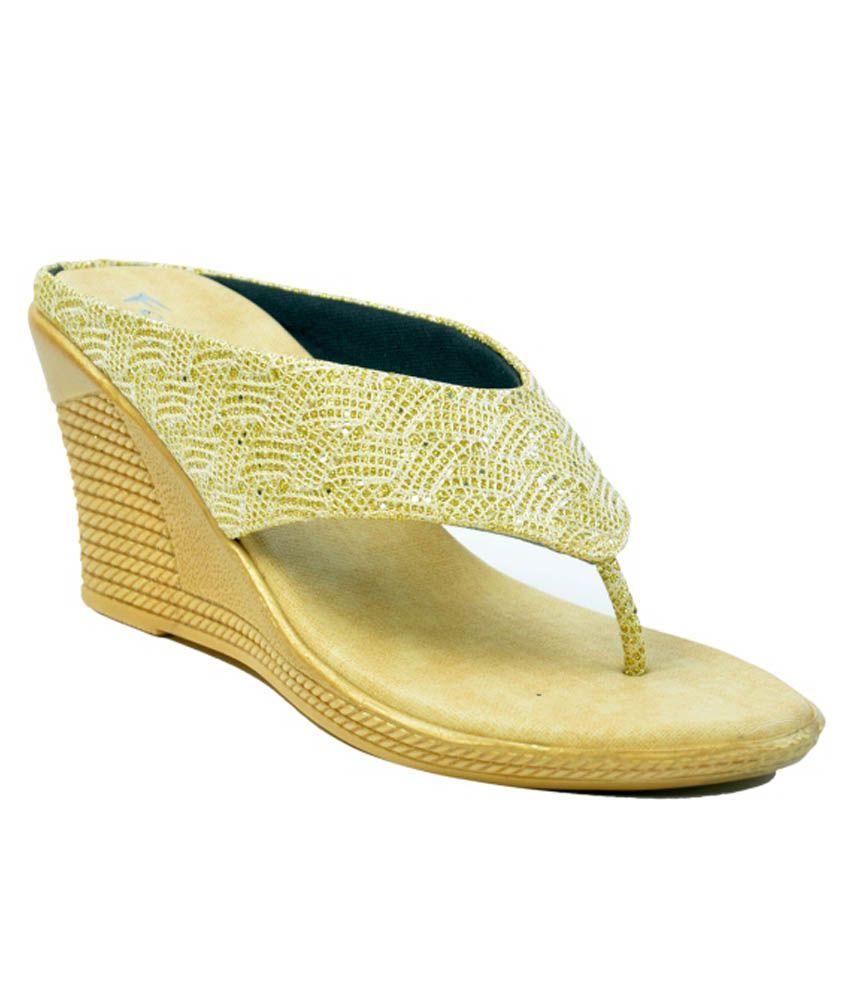 Fallon Gold Wedges Heels