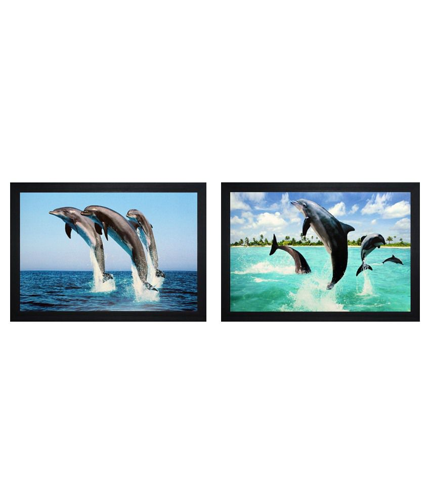 SAF Wooden Animal Paintings With Frame Set Of 2