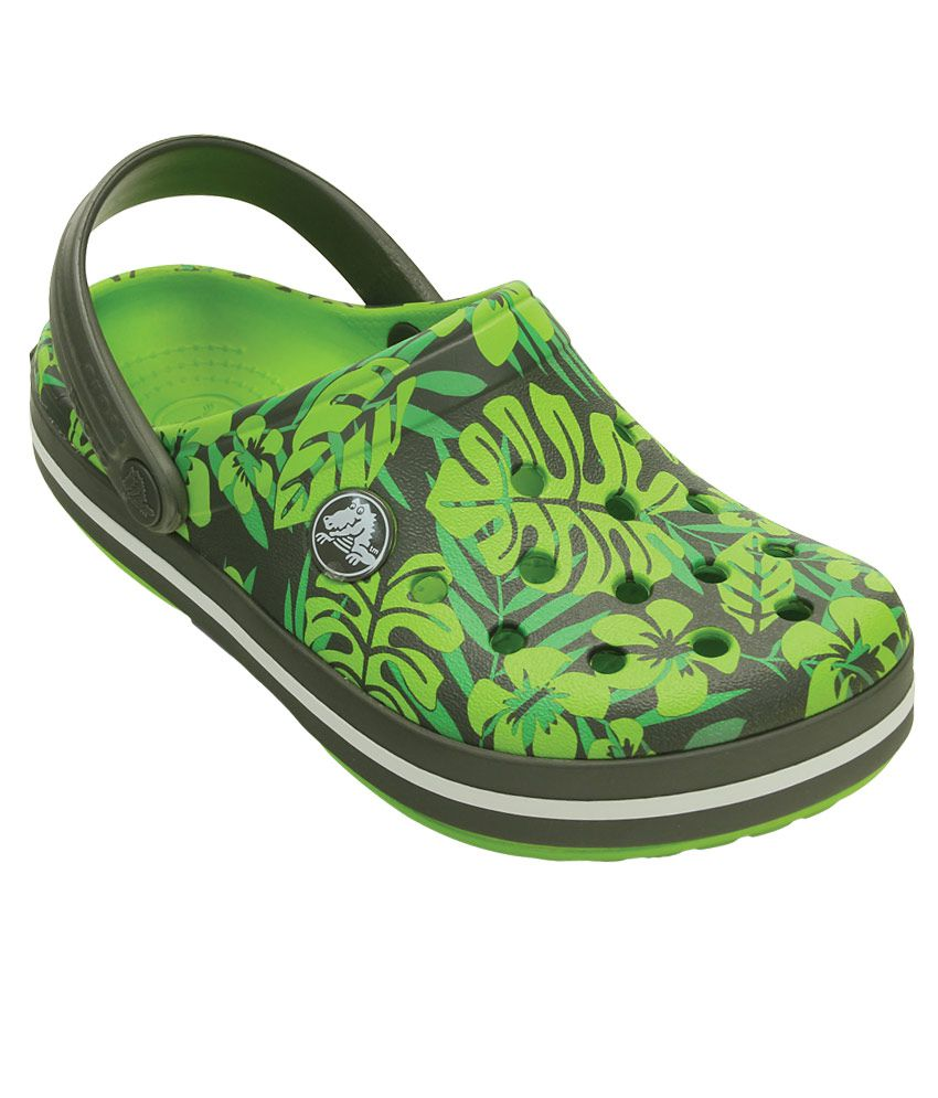 ea39ac5ae Crocs Crocband Tropical Print Green Clogs For Kids Price in India- Buy  Crocs Crocband Tropical Print Green Clogs For Kids Online at Snapdeal