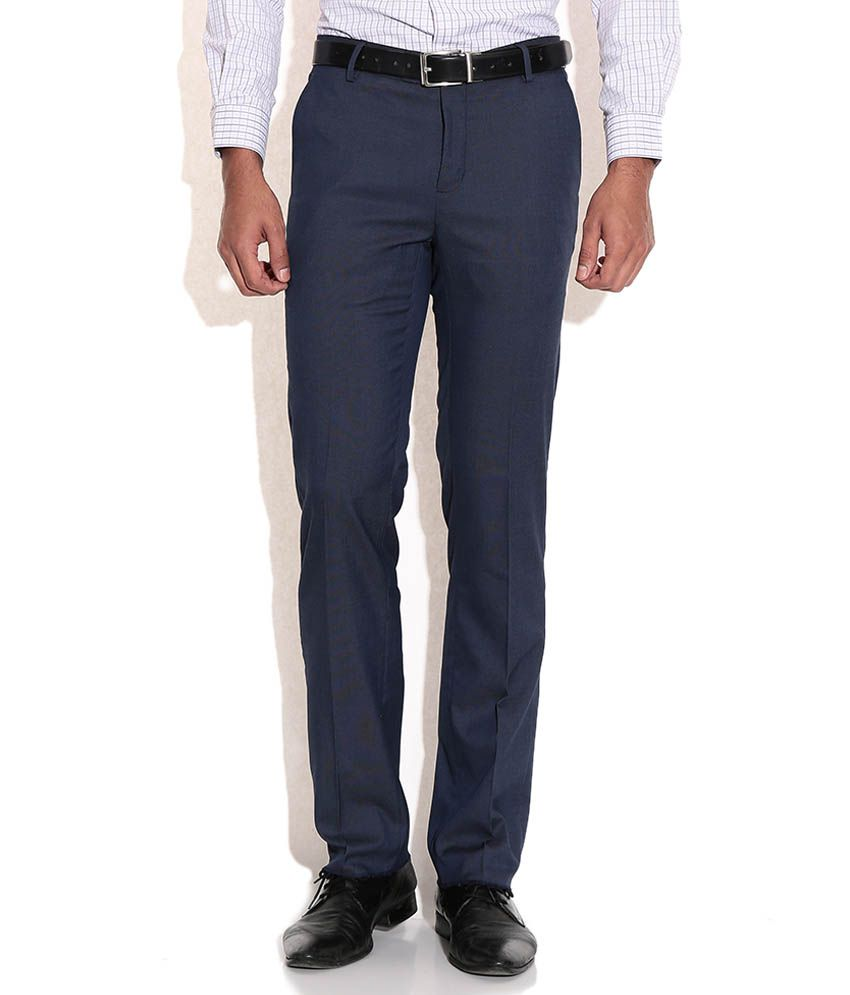 Geoffrey Beene Navy Regular Fit Formal Trousers