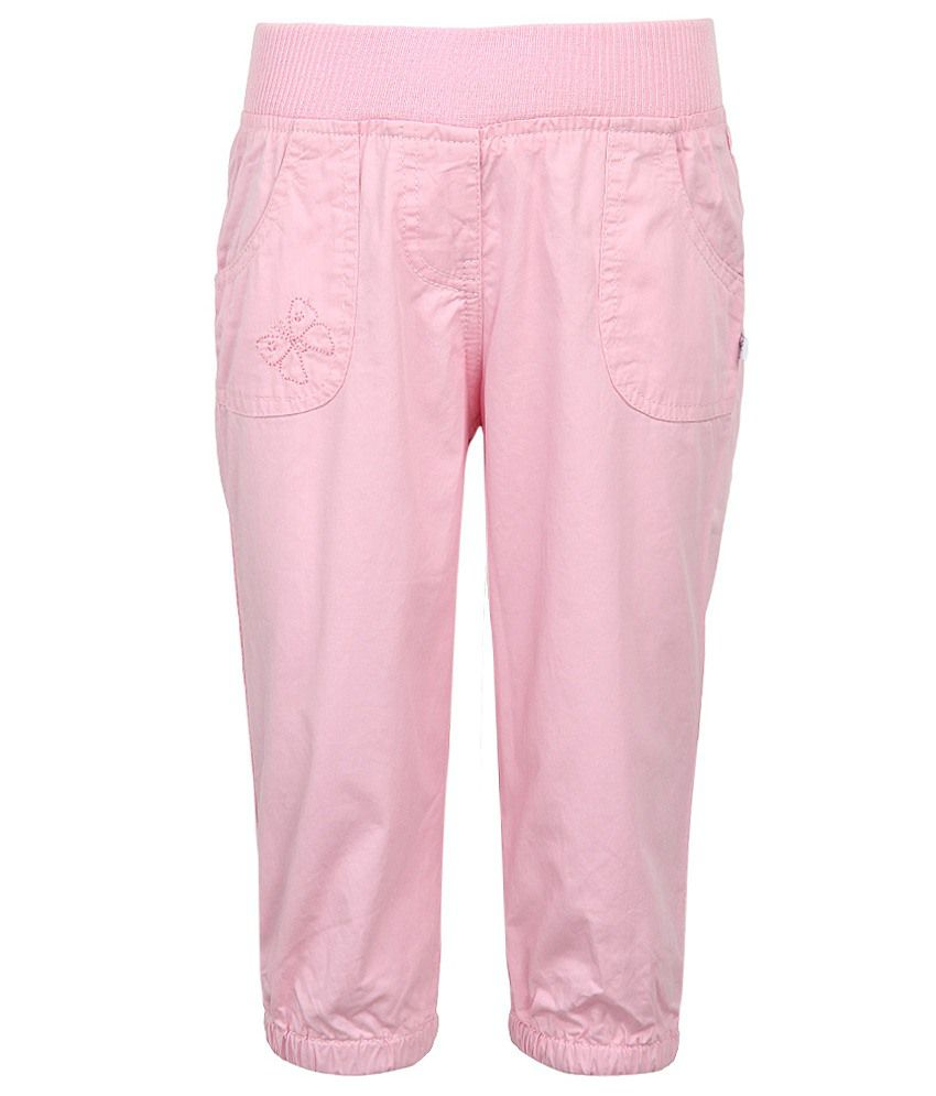 Stop by Shoppers Stop Pink Solid Cotton Capris