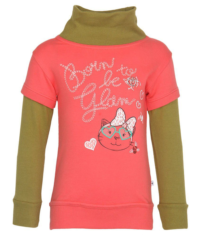 Stop by Shoppers Stop Pink & Green Cotton Sweatshirt
