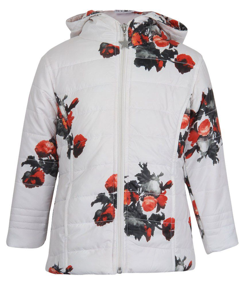 Stop by Shoppers Stop White Synthetic Full Sleeve Hooded Jacket