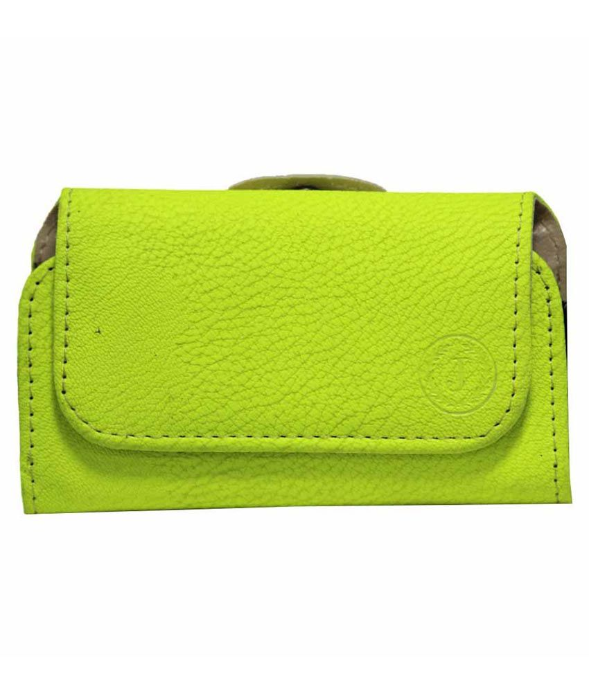 Jo Jo Pouch Holder Case Cover For Lava 3G 402 Plus Parrot Green available at SnapDeal for Rs.590