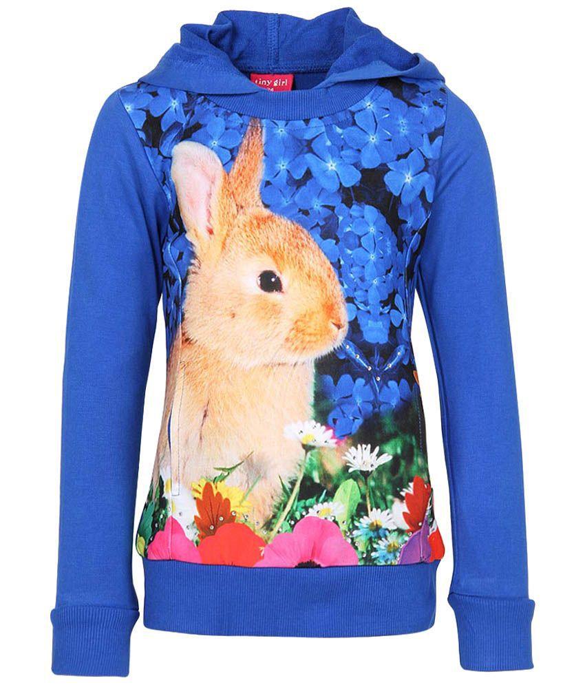 Tiny Girl Blue & Beige Graphic Cotton Sweatshirt