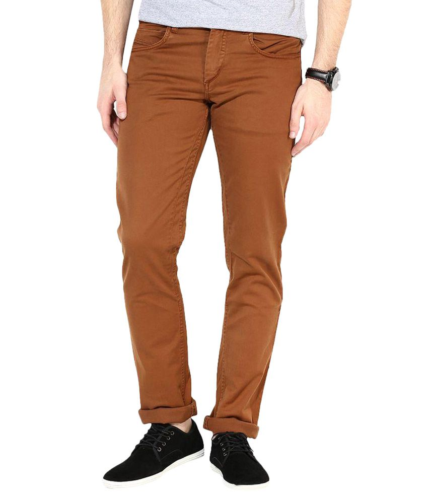 3 Concept Brown Slim Fit Jeans