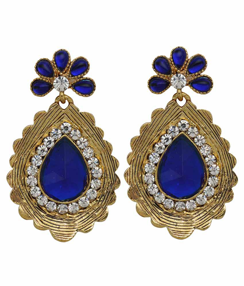 Moshiv Multicolour Alloy Crystal Hanging Earrings