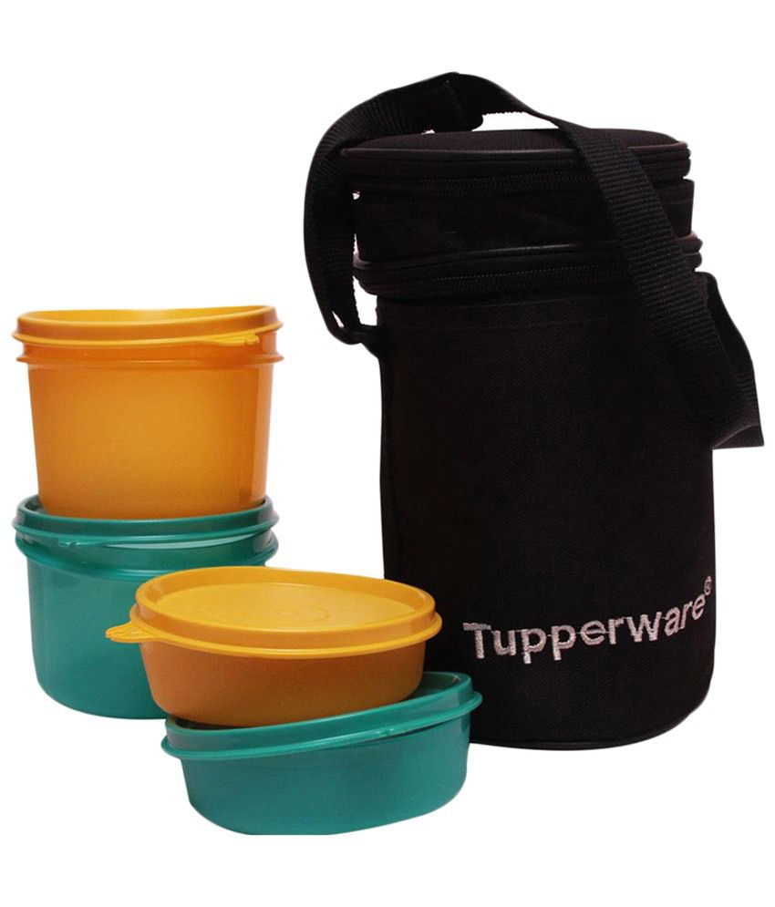 9905c5a078f Tupperware Yellow   Green 4 Container Lunch Box with Insulated Bag  Buy  Online at Best Price in India - Snapdeal