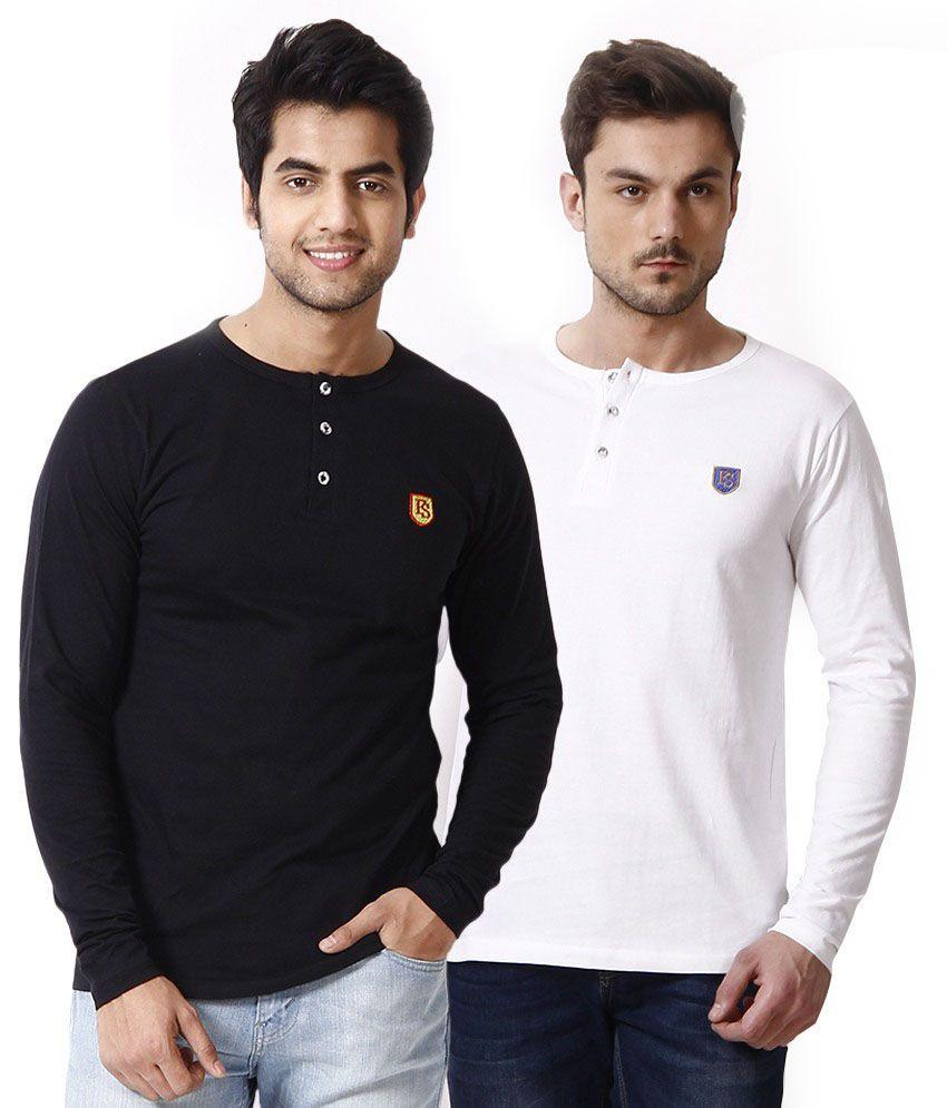 Free Spirit Black & White Cotton T-Shirts - Set of 2