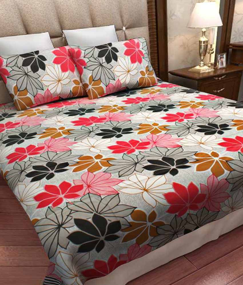 Home Candy Double Cotton Floral Bed Sheet ...
