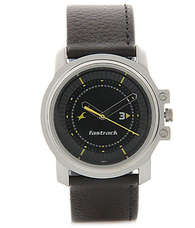 fastrack 3039sl02 black leather analog watch buy