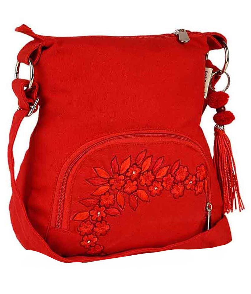 Pick Pocket Red Canvas Sling Bag - Buy Pick Pocket Red Canvas ...