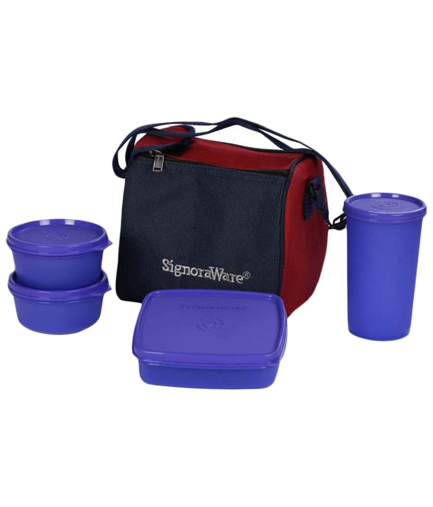 Signoraware Best Plastic Insulated Lunch Box With Carry Bag 4 Pcs