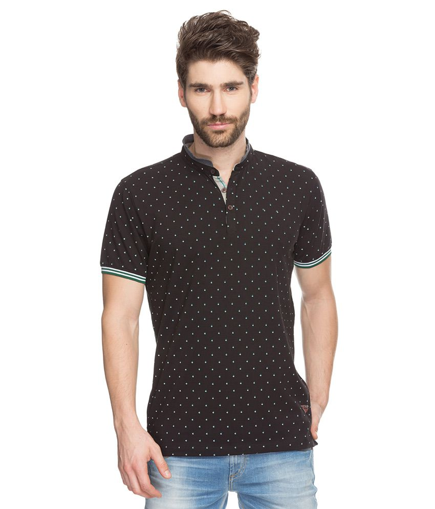 Spykar Black Printed Mandarin Collar T-Shirt