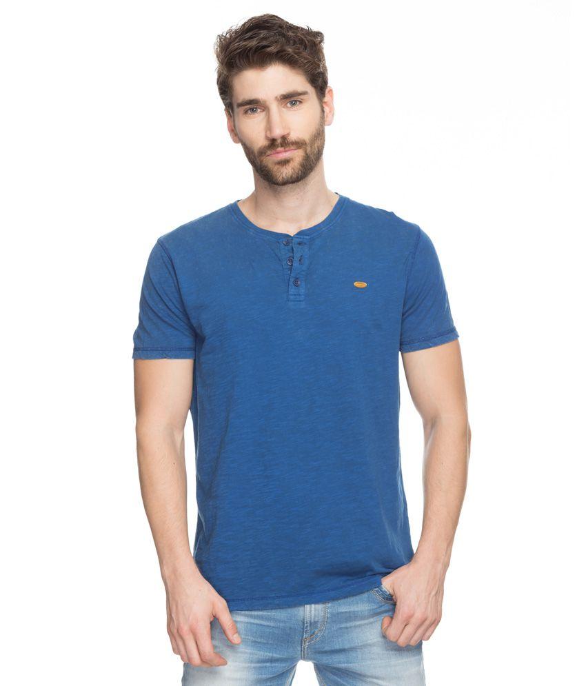 Spykar Blue Solid Henley T-Shirt