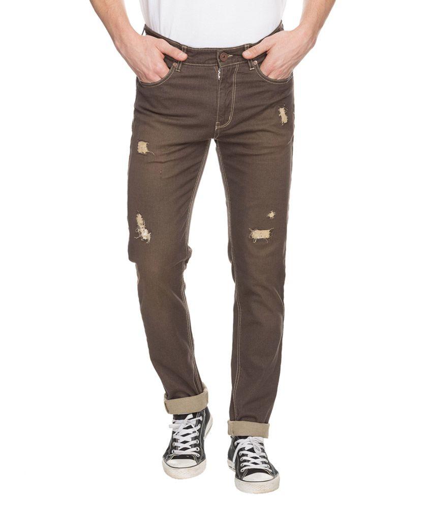 Spykar Brown Rico Slim Fit Jeans