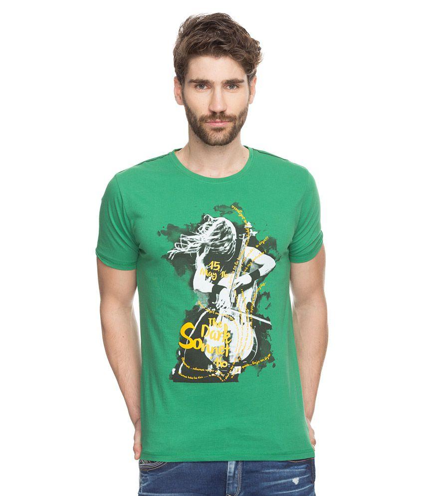 Spykar Green Printed T-Shirt
