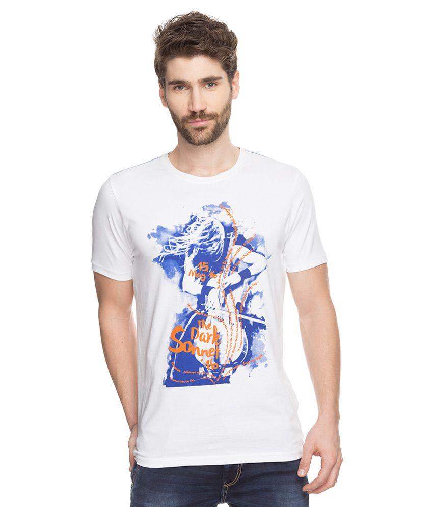 Spykar white printed t shirt buy spykar white printed t for White t shirt printing