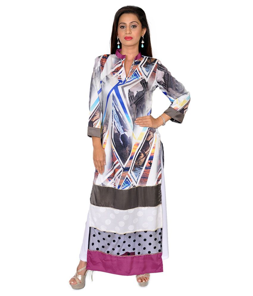 Diva Couture By Divvya Multi Color Straight Net Kurti