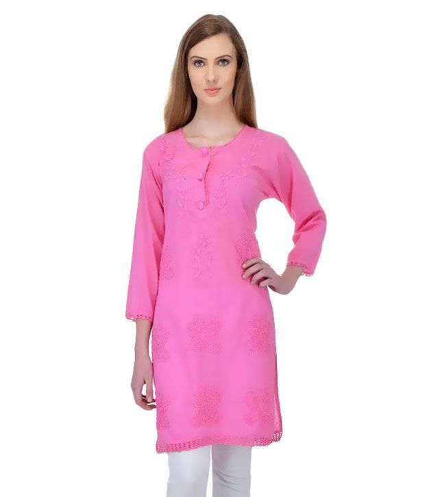 Fabrica International Pink Straight Cotton Kurti
