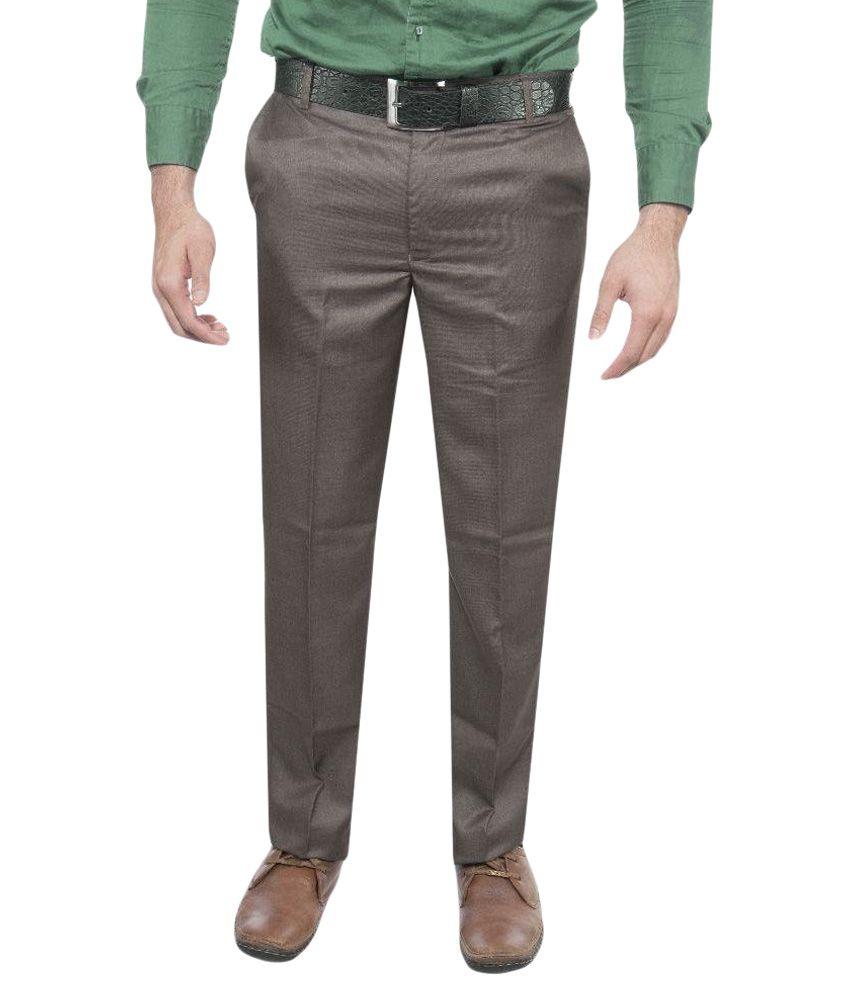 Le Meiux Brown Slim Fit Flat Trousers