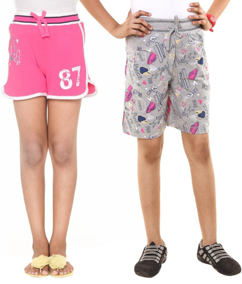 Menthol Gray Cotton Spandex Shorts