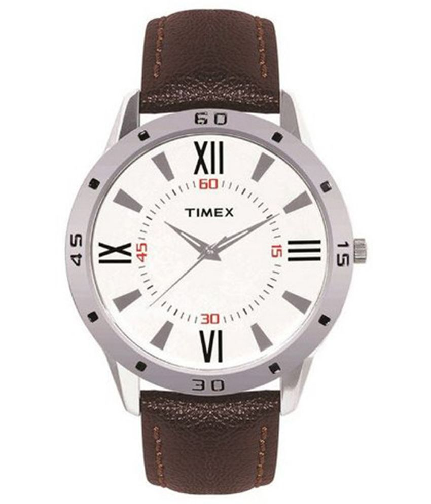 timex ti002b11300 brown leather analog watch buy timex