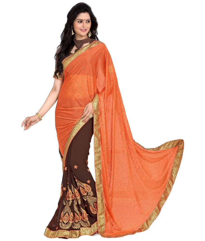 Blissta Orange Georgette Saree