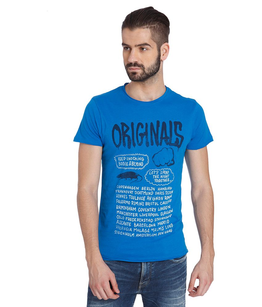 Jack & Jones Blue Printed T-Shirt