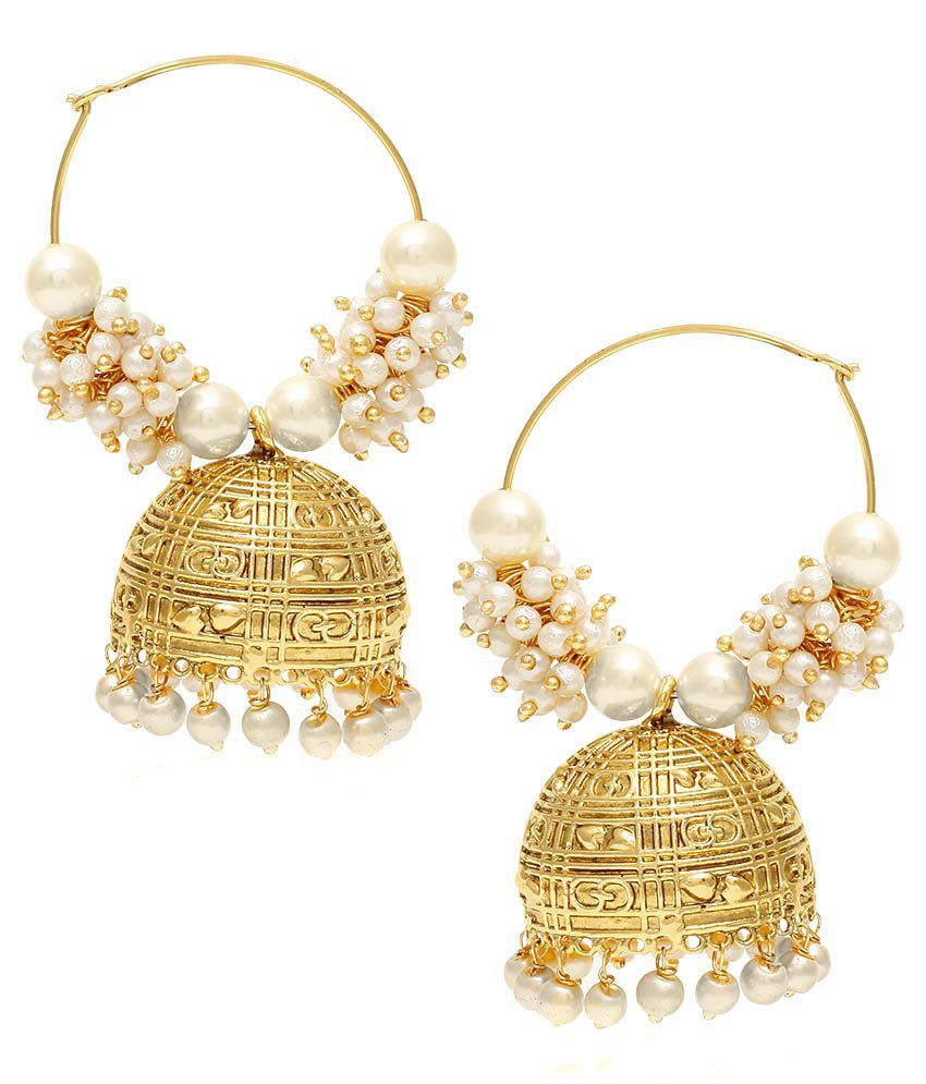 Jewels Galaxy Pearl Studded Jhumkis