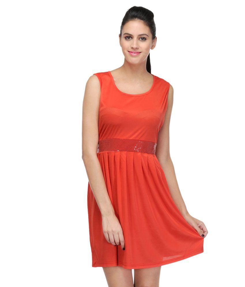 Pinkbird E Commerce Orange Viscose Dresses