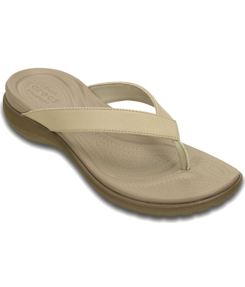 Crocs Relaxed Fit Beige Slippers & Flip Flops