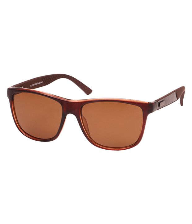 Barcode Brown Rectangle Sunglasses