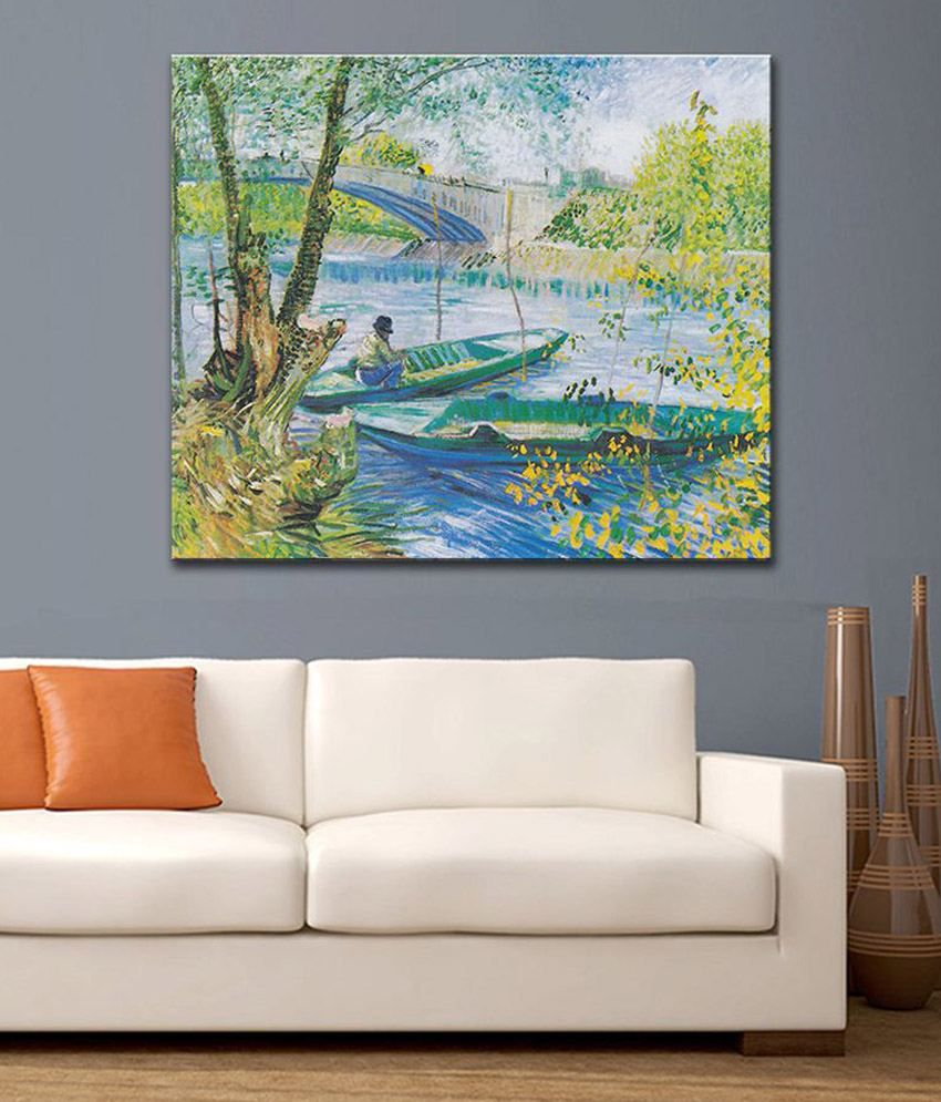 Tallenge Fishing In The Spring, Pont De Clichy By Vincent Van Gogh Rolled Canvas Art Print