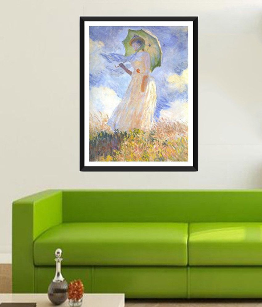 Tallenge Woman with Parasol Turned to the Left By Claude Monet Framed Art Print
