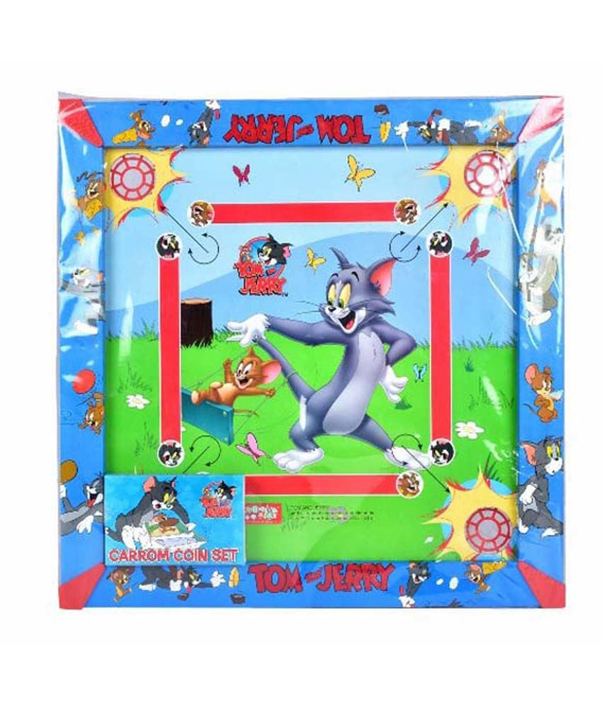 Tom and Jerry 2-In-1 Carrom board with Snakes and ladders Game