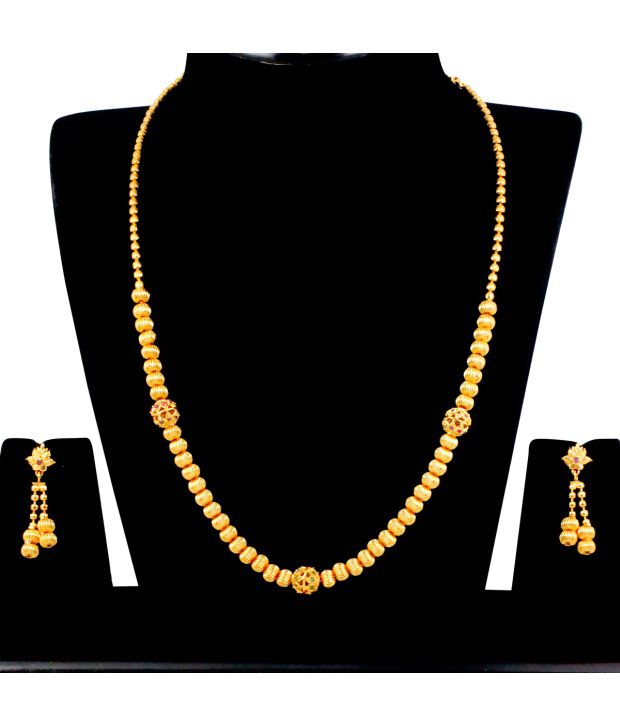 Spargz Traditional Ball Necklace Set Studded with AD Stone